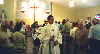 Procession to the baptismal font