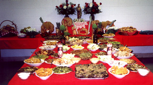 St Joseph's Day Table, laden with food