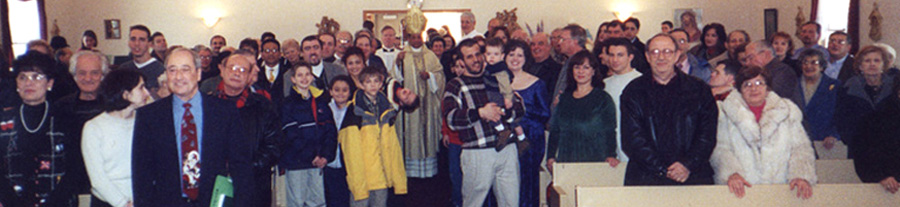 Holy Thursday, 2001. In the back, behind Most Rev. Joseph Perry are Father Gilligan and Ray Deabel, deacon. From the left are Jean Ciambrone, John Onofrio, Rosanne & Angelo Ciambrone, Paul Pizzoferrato, Gene Planera, Joe Vega, Susan Grilli, Nick & Rob Markionni, Ken Ziccardi, August Anzelmo. Then, Pat & Angie Palanca [+Nicholas], Ettore Panici, Gene Billo, Maria & Tony Zerante, Cleto & Emidia Bonnanotte, Guy Petrarca, Marilyn Jobbe, Joe Petrongelli, Doug Foster, Carol & Dominic Candeloro, Catherine Inucci,and Joan Termini