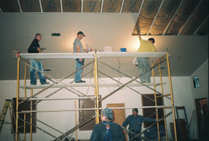 Work crew inside the church building