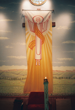 Banner of the Risen Christ, used during the Easter Season