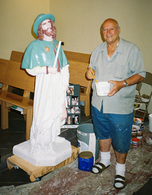 Now, in September, 2008, Tom Planera again restores the same statue.