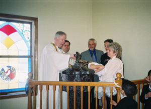 Baptism of Bernie, at the font