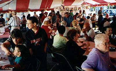 Tent tables at festa