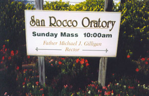 Sign outside San Rocco church
