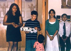 Kids at door of the church