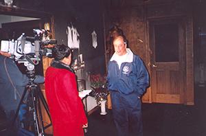 Pam Jones of CBS-TV interviews Mayor Angelo Ciambrone
