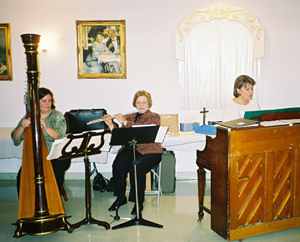 Epiphany, 2008: harpist Nancy Dunagan, flautist Denise LaGiglia, and pianist Marty Hesse